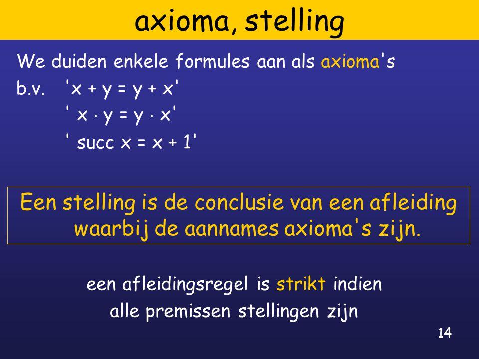 14 axioma, stelling We duiden enkele formules aan als axioma's b.v. 'x + y = y + x' ' x ¢ y = y ¢ x' ' succ x = x + 1' Een stelling is de conclusie va