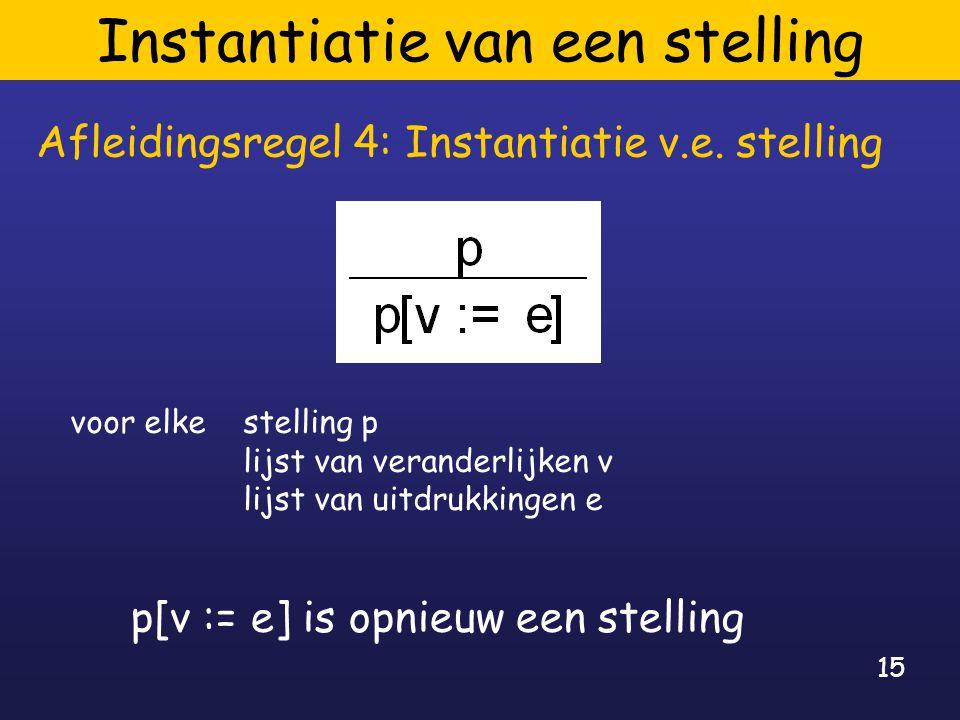 15 Instantiatie van een stelling Afleidingsregel 4: Instantiatie v.e.