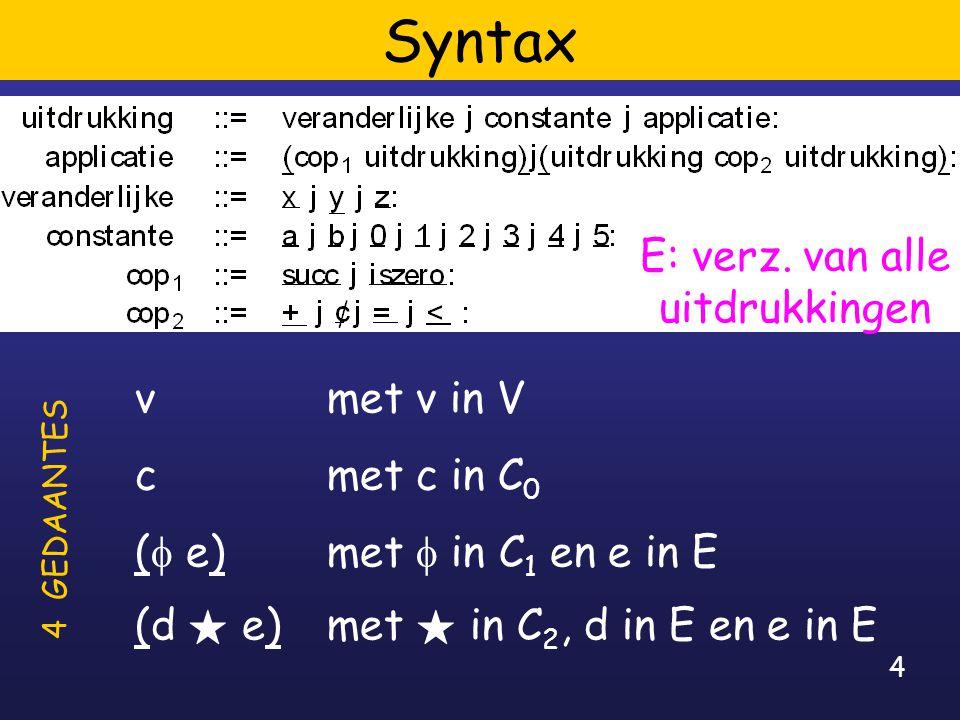 4 Syntax vmet v in V c met c in C 0 (  e) met  in C 1 en e in E (d F e) met F in C 2, d in E en e in E 4 GEDAANTES E: verz.