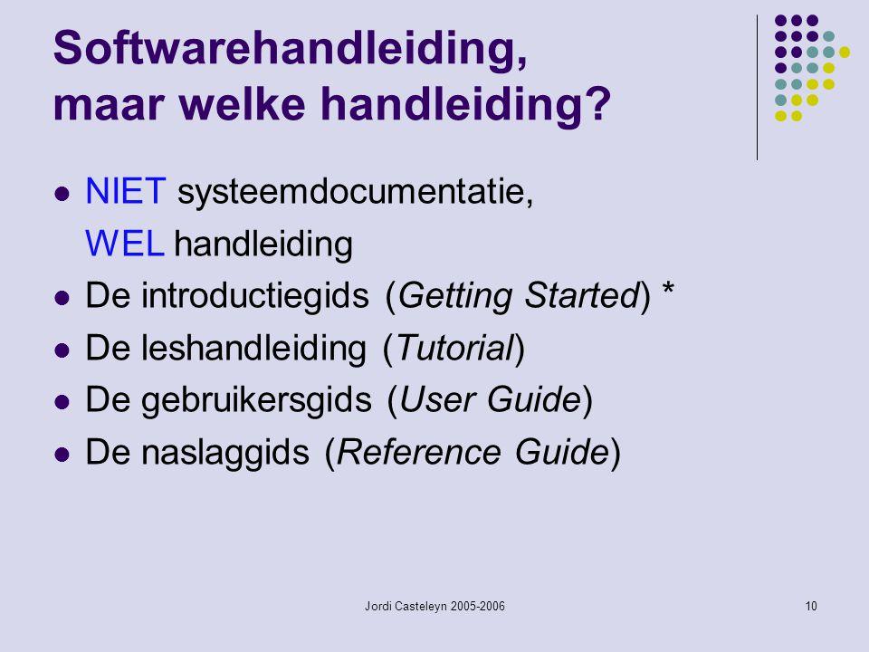 Jordi Casteleyn 2005-200610 Softwarehandleiding, maar welke handleiding? NIET systeemdocumentatie, WEL handleiding De introductiegids (Getting Started