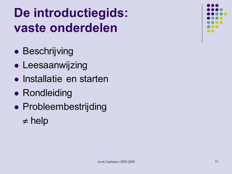 Jordi Casteleyn 2005-200611 De introductiegids: vaste onderdelen Beschrijving Leesaanwijzing Installatie en starten Rondleiding Probleembestrijding 