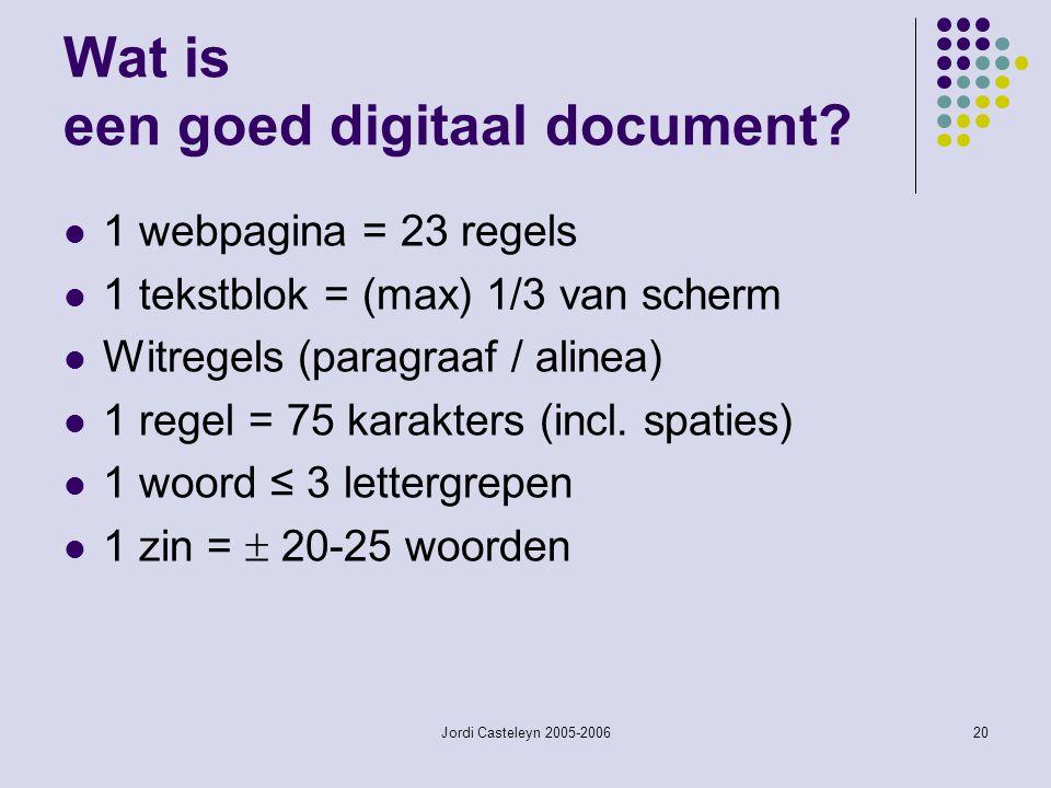 Jordi Casteleyn 2005-200620 Wat is een goed digitaal document? 1 webpagina = 23 regels 1 tekstblok = (max) 1/3 van scherm Witregels (paragraaf / aline