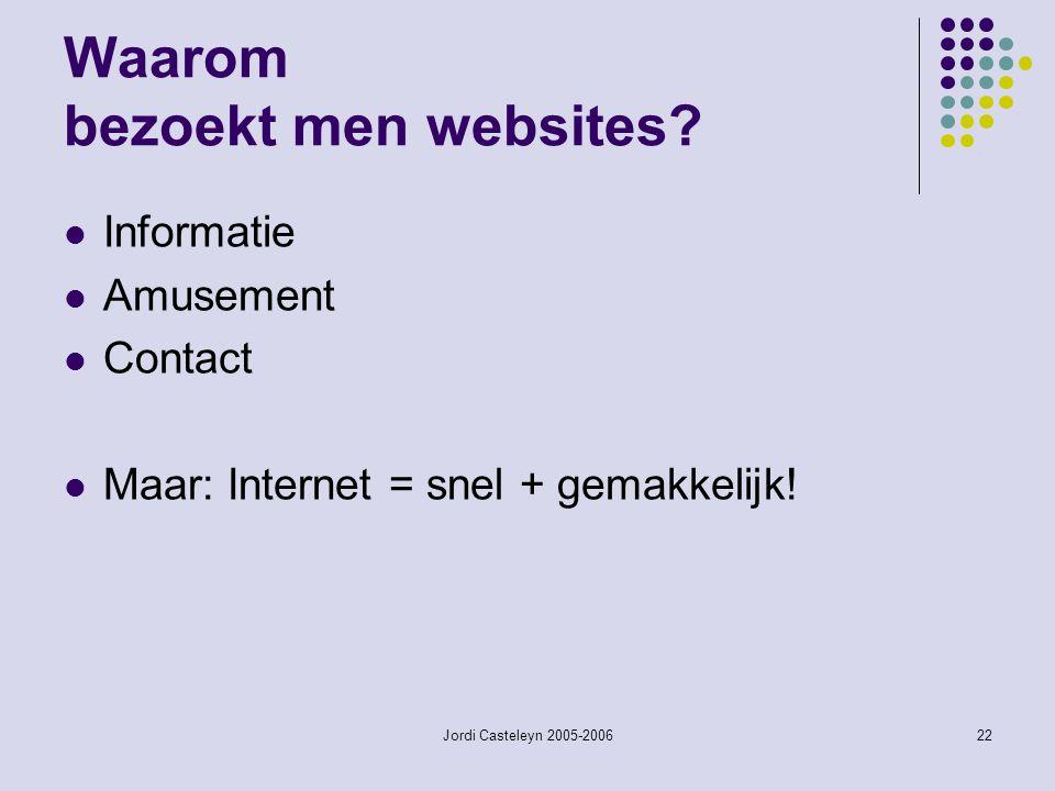 Jordi Casteleyn 2005-200622 Waarom bezoekt men websites? Informatie Amusement Contact Maar: Internet = snel + gemakkelijk!