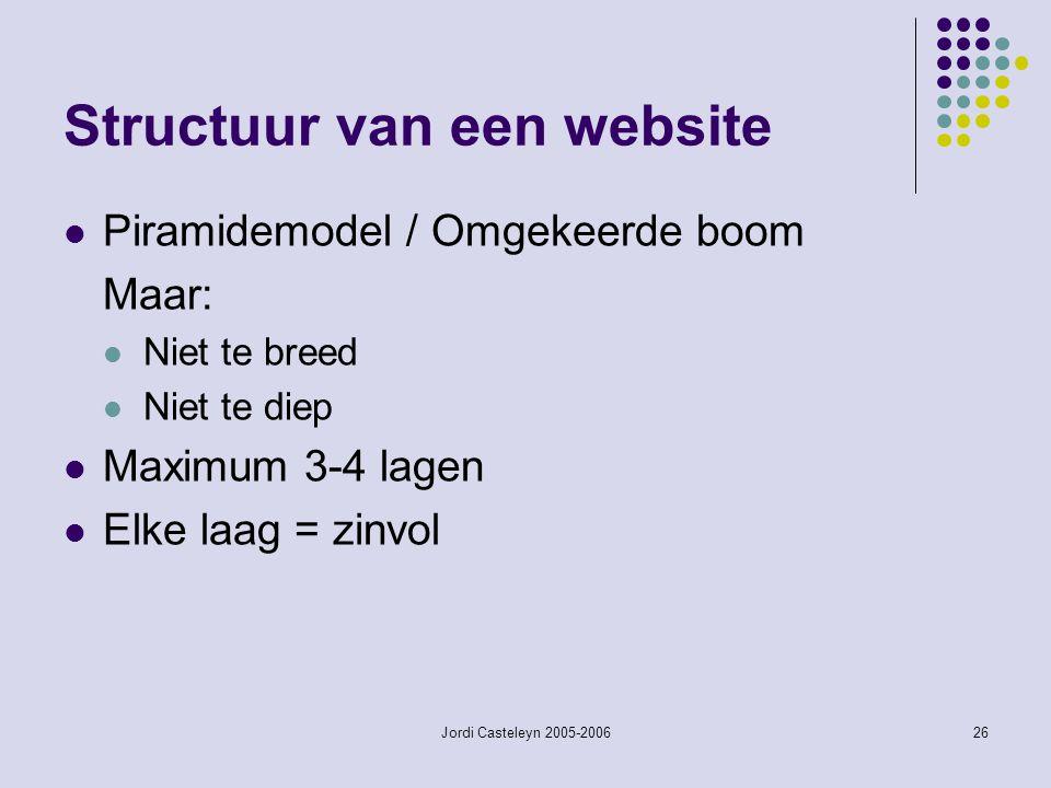 Jordi Casteleyn 2005-200626 Structuur van een website Piramidemodel / Omgekeerde boom Maar: Niet te breed Niet te diep Maximum 3-4 lagen Elke laag = z