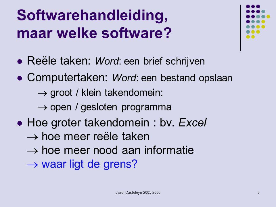Jordi Casteleyn 2005-20068 Softwarehandleiding, maar welke software? Reële taken: Word: een brief schrijven Computertaken: Word: een bestand opslaan 
