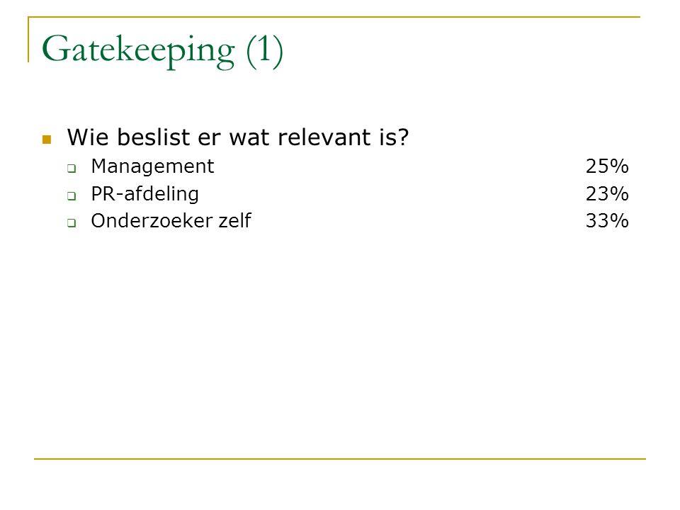 Gatekeeping (1) Wie beslist er wat relevant is.