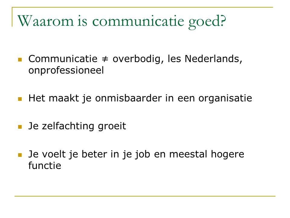 Waarom is communicatie goed.