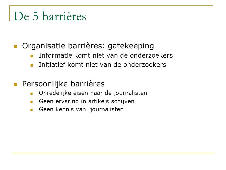 De 5 barrières Organisatie barrières: gatekeeping Informatie komt niet van de onderzoekers Initiatief komt niet van de onderzoekers Persoonlijke barrières Onredelijke eisen naar de journalisten Geen ervaring in artikels schijven Geen kennis van journalisten