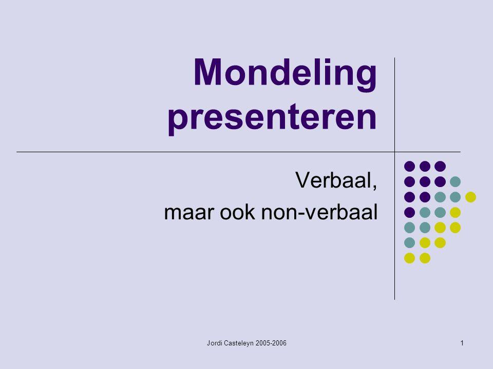 Jordi Casteleyn 2005-20061 Mondeling presenteren Verbaal, maar ook non-verbaal