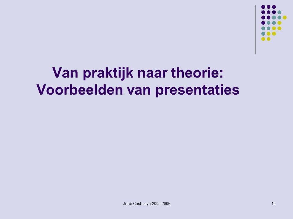 Jordi Casteleyn 2005-200610 Van praktijk naar theorie: Voorbeelden van presentaties
