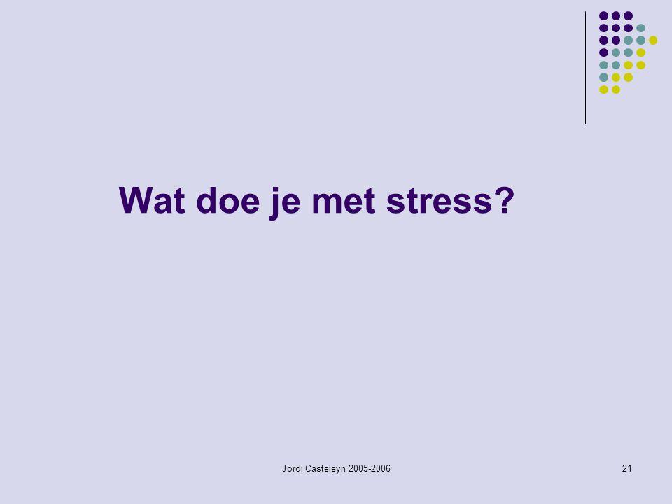 Jordi Casteleyn 2005-200621 Wat doe je met stress?