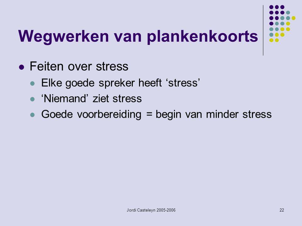 Jordi Casteleyn 2005-200622 Wegwerken van plankenkoorts Feiten over stress Elke goede spreker heeft 'stress' 'Niemand' ziet stress Goede voorbereiding = begin van minder stress