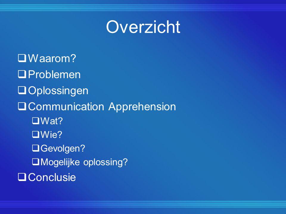 Overzicht  Waarom?  Problemen  Oplossingen  Communication Apprehension  Wat?  Wie?  Gevolgen?  Mogelijke oplossing?  Conclusie