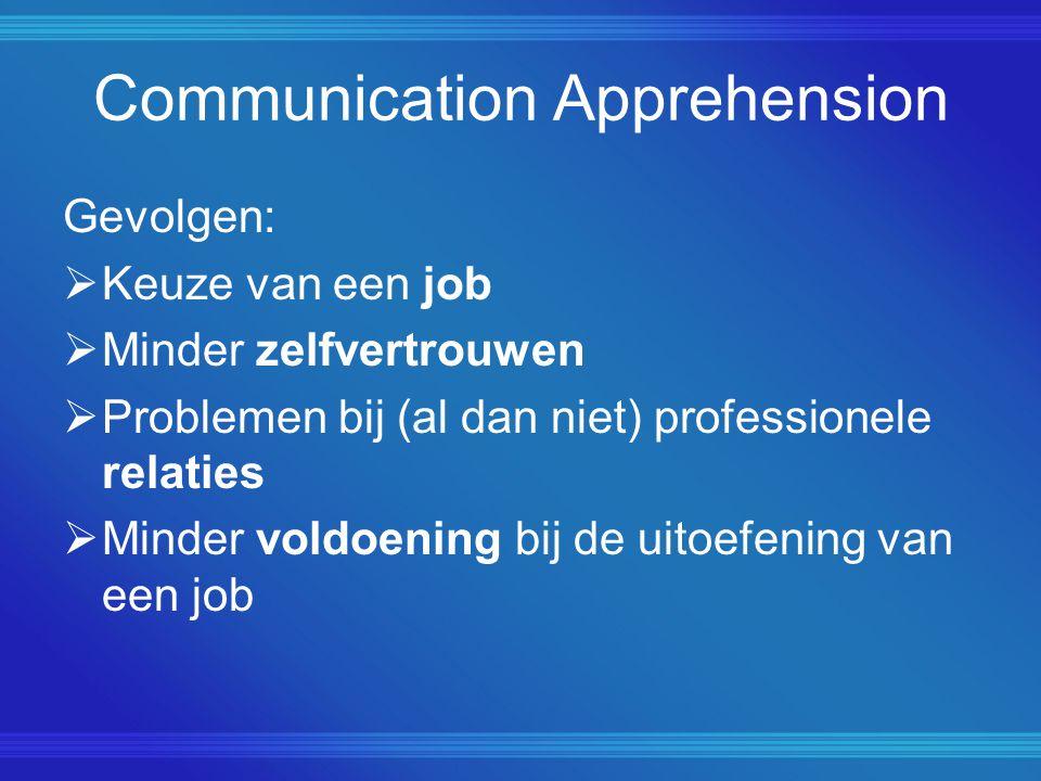 Communication Apprehension Gevolgen:  Keuze van een job  Minder zelfvertrouwen  Problemen bij (al dan niet) professionele relaties  Minder voldoen