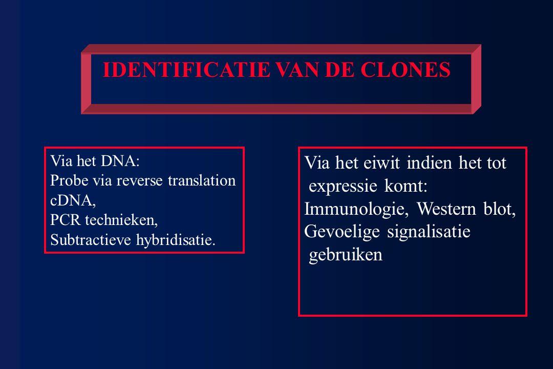 Via het DNA: Probe via reverse translation cDNA, PCR technieken, Subtractieve hybridisatie. Via het eiwit indien het tot expressie komt: Immunologie,