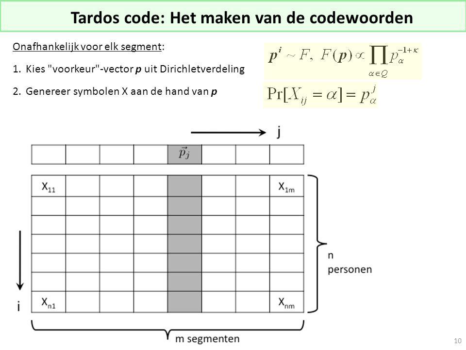 Tardos code: Het maken van de codewoorden Onafhankelijk voor elk segment: 1.Kies