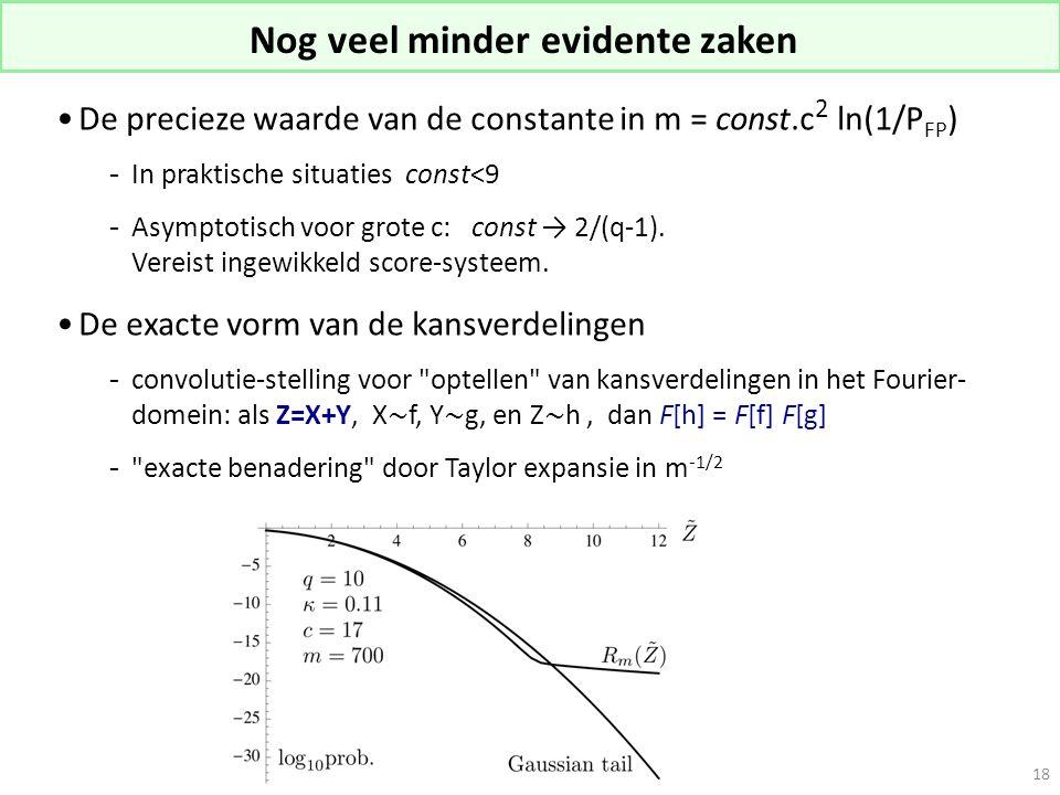 Nog veel minder evidente zaken De precieze waarde van de constante in m = const.c 2 ln(1/P FP ) -In praktische situaties const<9 -Asymptotisch voor gr