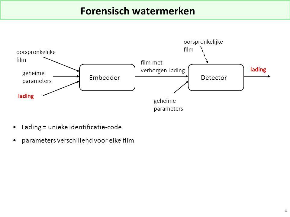 4 Forensisch watermerken Lading = unieke identificatie-code parameters verschillend voor elke film EmbedderDetector oorspronkelijke film lading film met verborgen lading geheime parameters lading oorspronkelijke film