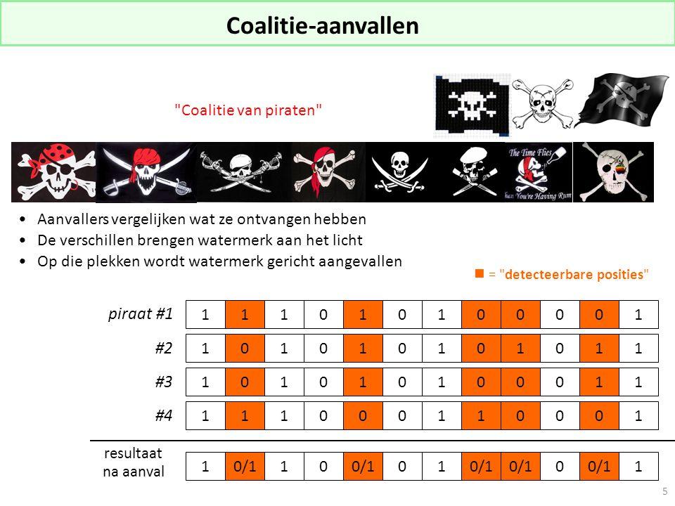 5 Aanvallers vergelijken wat ze ontvangen hebben De verschillen brengen watermerk aan het licht Op die plekken wordt watermerk gericht aangevallen Coalitie van piraten 1 piraat #1 resultaat na aanval 1 1 0 0 0 0 1 1 1 10 0 0 0 0 1 1 1 1 1 0 0 1 1 1 1 1 0 0 0 1 0 1 0 0 0 0 0 0 1 1 1 1 0 1 1 0 10/110 01 0 1 #2 #3 #4 = detecteerbare posities Coalitie-aanvallen