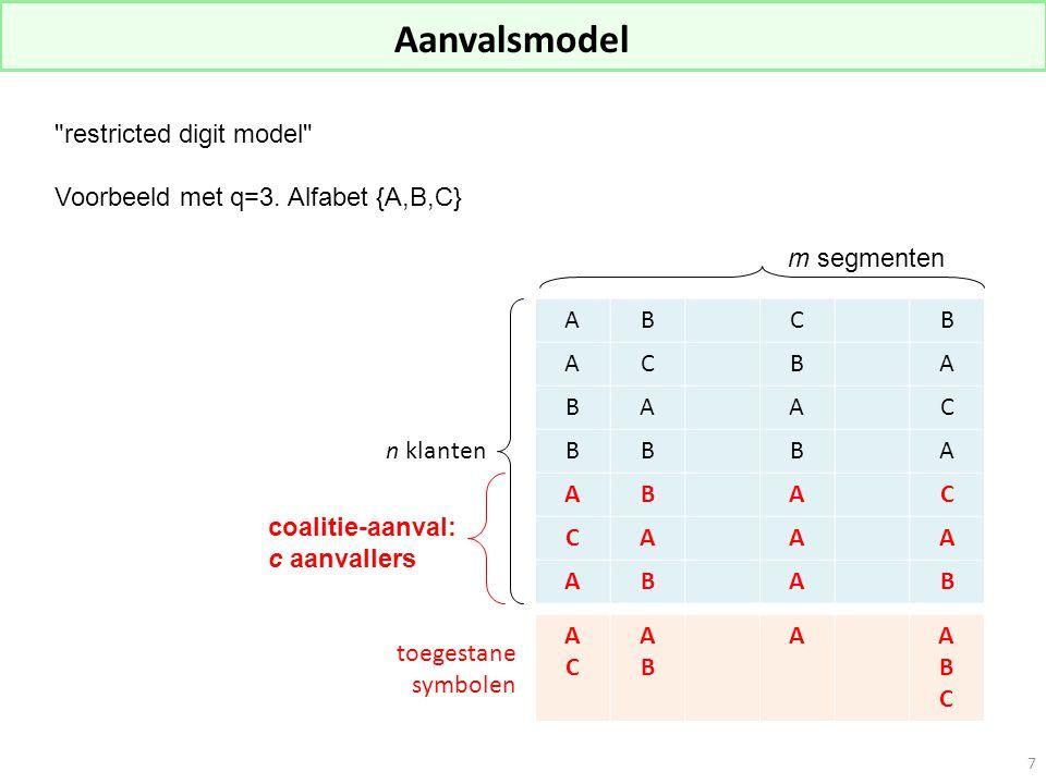 Aanvalsmodel restricted digit model Voorbeeld met q=3.