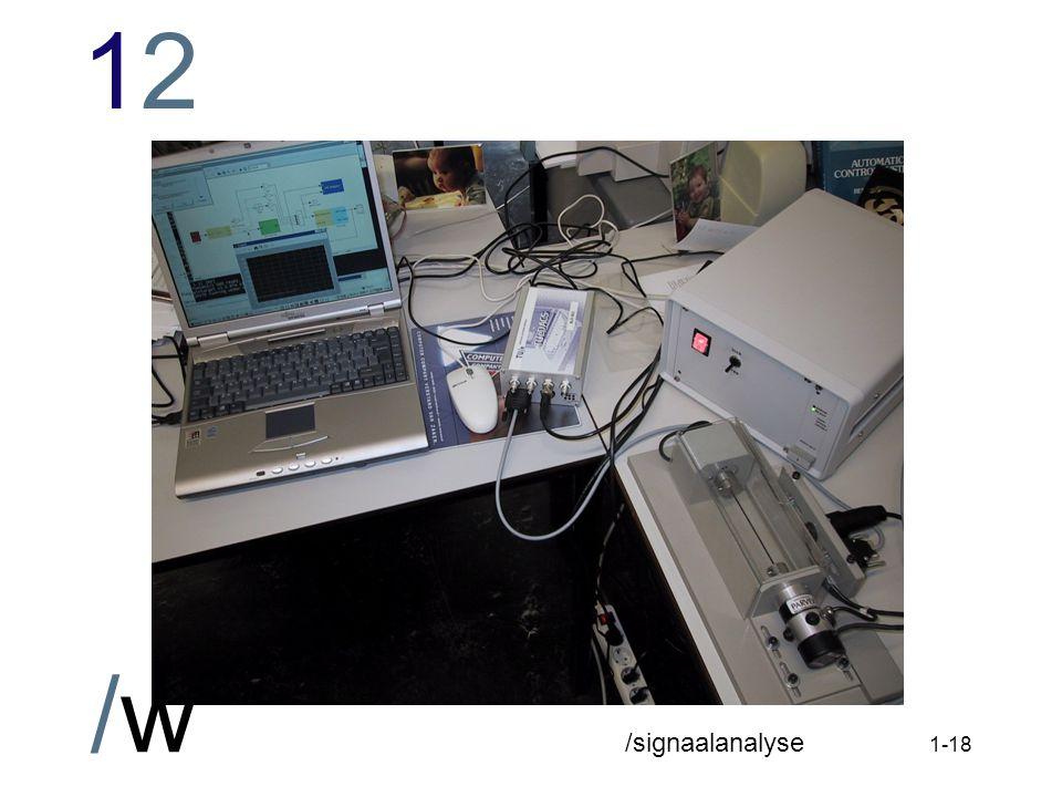 1212 /w /signaalanalyse 1-17 Benodigde software tijdens BZ Matlab 6 (R12) met Simulink/RTW deïnstalleer eerdere versie Wintarget download Wintarget software versie 2.2 installeer Wintarget (niet rebooten aan het eind) plug-in PCMCIA TUeDACS Serial Highway driver location: c:\TUEDACS niet rebooten; tweede device volgt automatisch rebooten na afloop van de driver-installatie