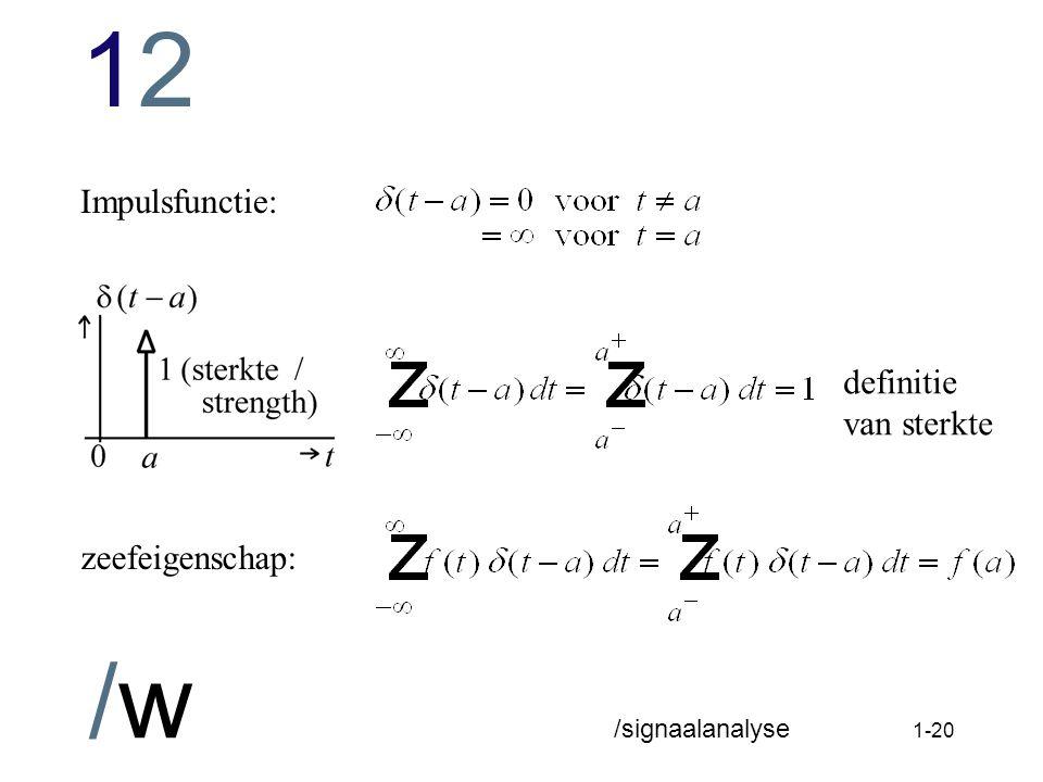 1212 /w /signaalanalyse 1-19 Voorkennis frequentie domein (Laplacetransformatie) uit Systeemanalyse.