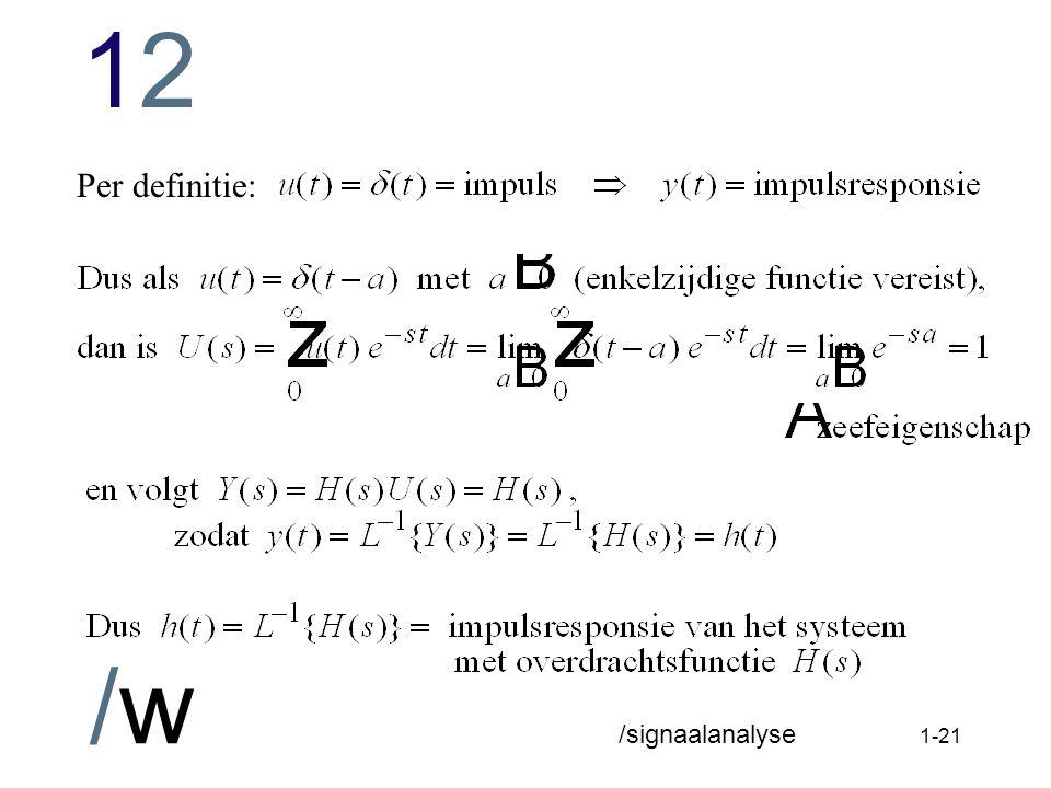 1212 /w /signaalanalyse 1-20 Impulsfunctie: definitie van sterkte zeefeigenschap: