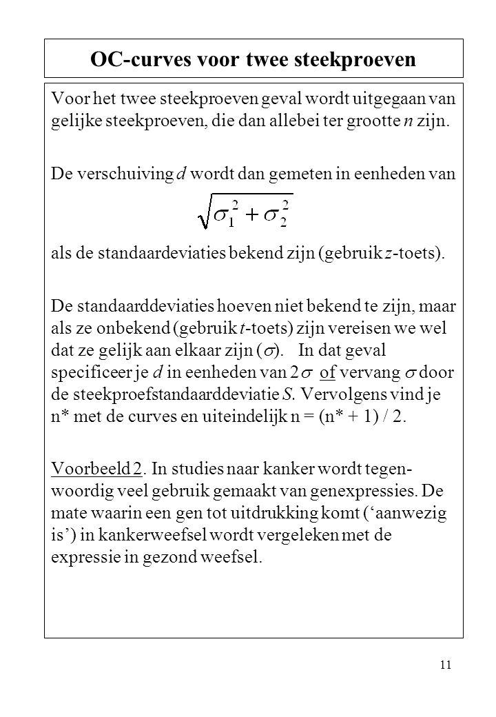 11 Voor het twee steekproeven geval wordt uitgegaan van gelijke steekproeven, die dan allebei ter grootte n zijn. De verschuiving d wordt dan gemeten
