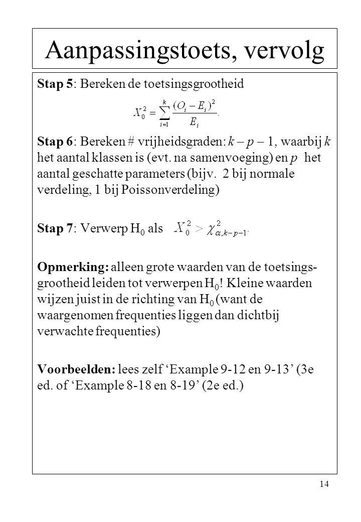 14 Stap 5: Bereken de toetsingsgrootheid Stap 6: Bereken # vrijheidsgraden: k – p – 1, waarbij k het aantal klassen is (evt. na samenvoeging) en p het
