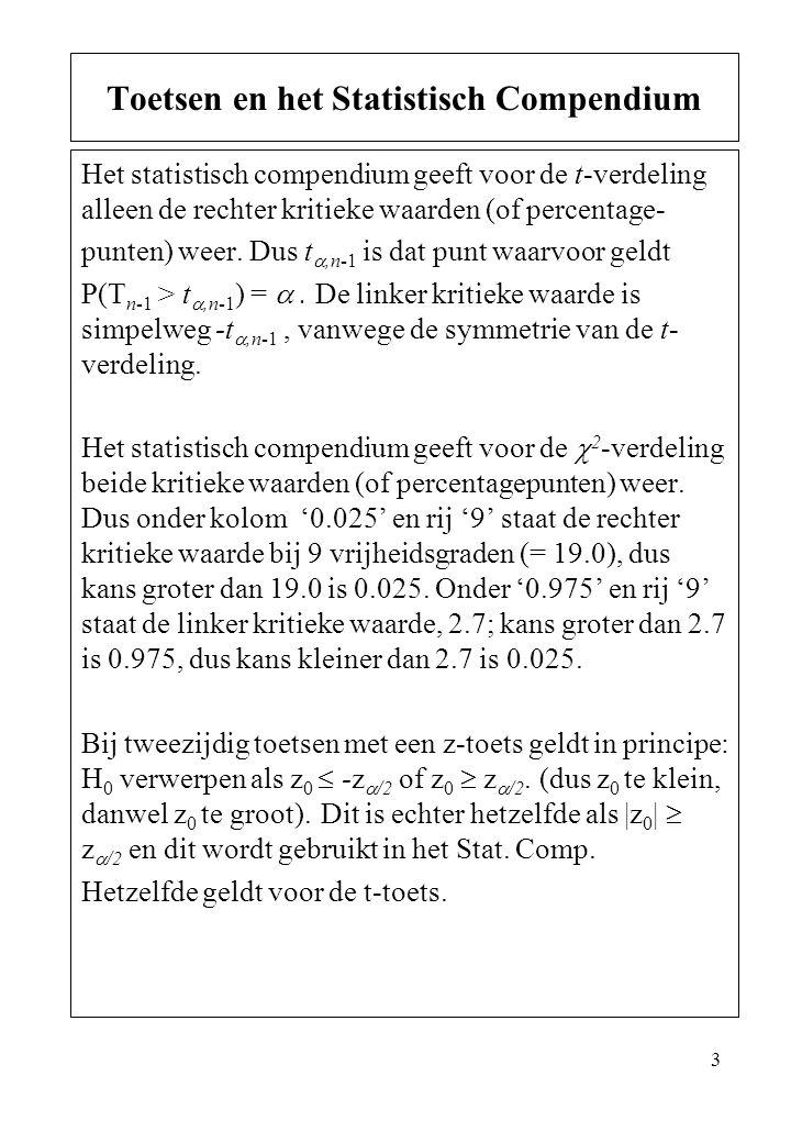 3 Het statistisch compendium geeft voor de t-verdeling alleen de rechter kritieke waarden (of percentage- punten) weer. Dus t ,n-1 is dat punt waarvo