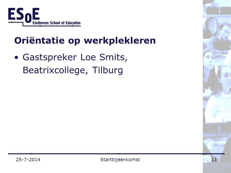 Oriëntatie op werkplekleren Gastspreker Loe Smits, Beatrixcollege, Tilburg 25-7-2014Startbijeenkomst11