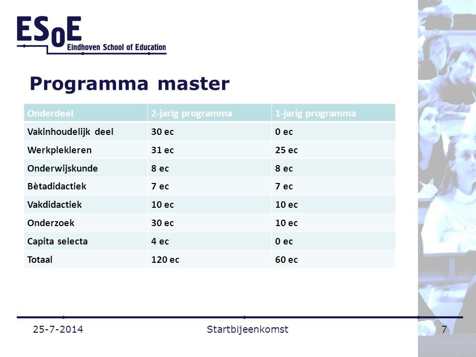Programma master Onderdeel2-jarig programma1-jarig programma Vakinhoudelijk deel30 ec0 ec Werkplekleren31 ec25 ec Onderwijskunde8 ec Bètadidactiek7 ec