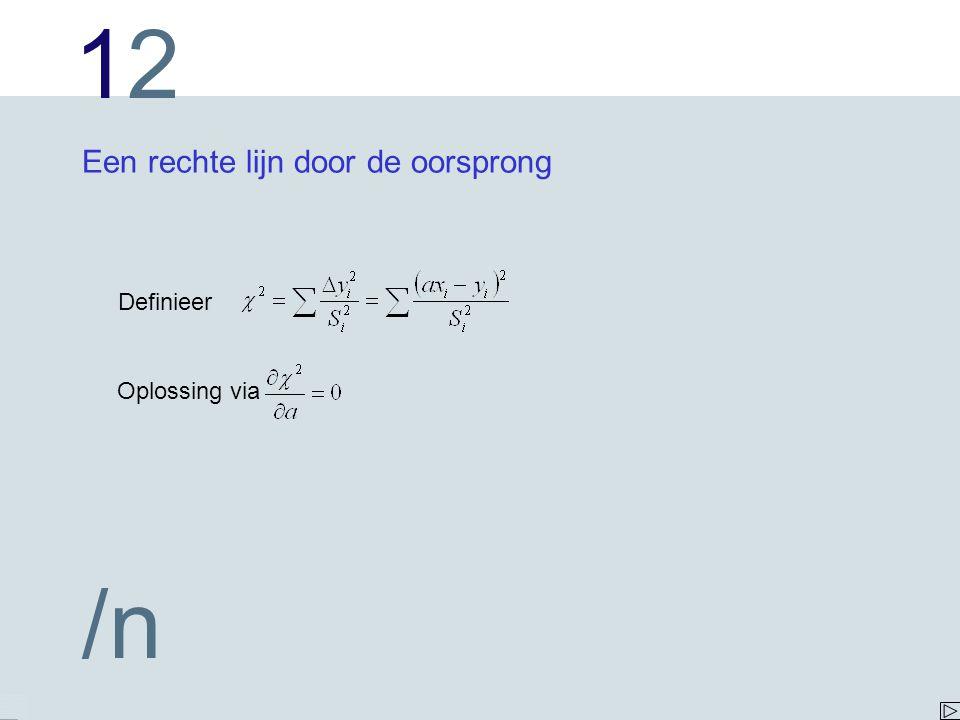 1212 /n Een rechte lijn door de oorsprong Definieer Oplossing via