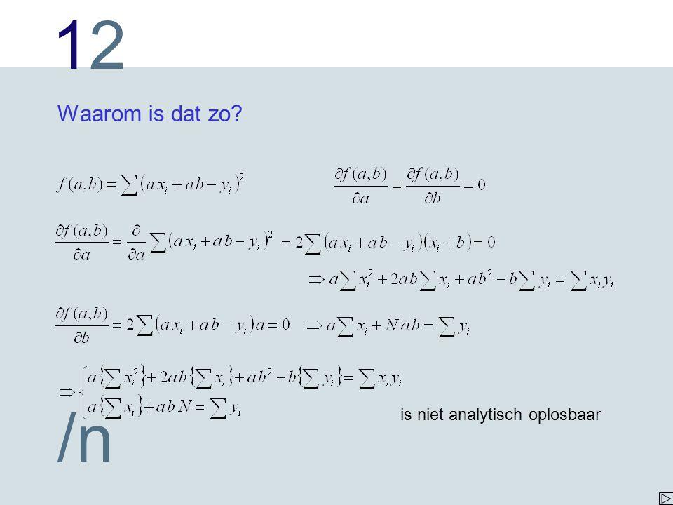 1212 /n Waarom is dat zo? is niet analytisch oplosbaar