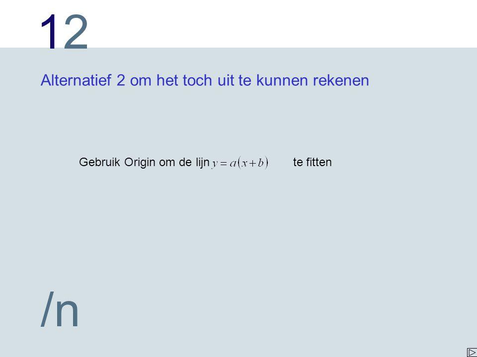 1212 /n Alternatief 2 om het toch uit te kunnen rekenen Gebruik Origin om de lijn te fitten