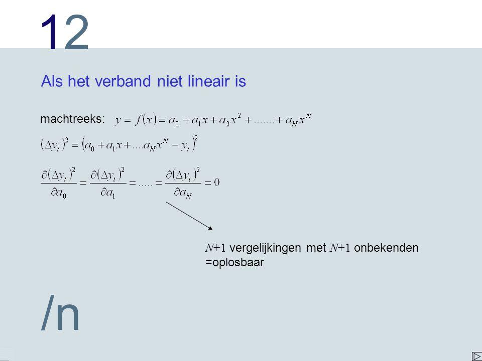 1212 /n Als het verband niet lineair is machtreeks: N+1 vergelijkingen met N+1 onbekenden =oplosbaar