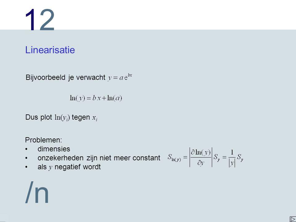 1212 /n Linearisatie Bijvoorbeeld je verwacht Dus plot ln(y i ) tegen x i Problemen: dimensies onzekerheden zijn niet meer constant als y negatief wor