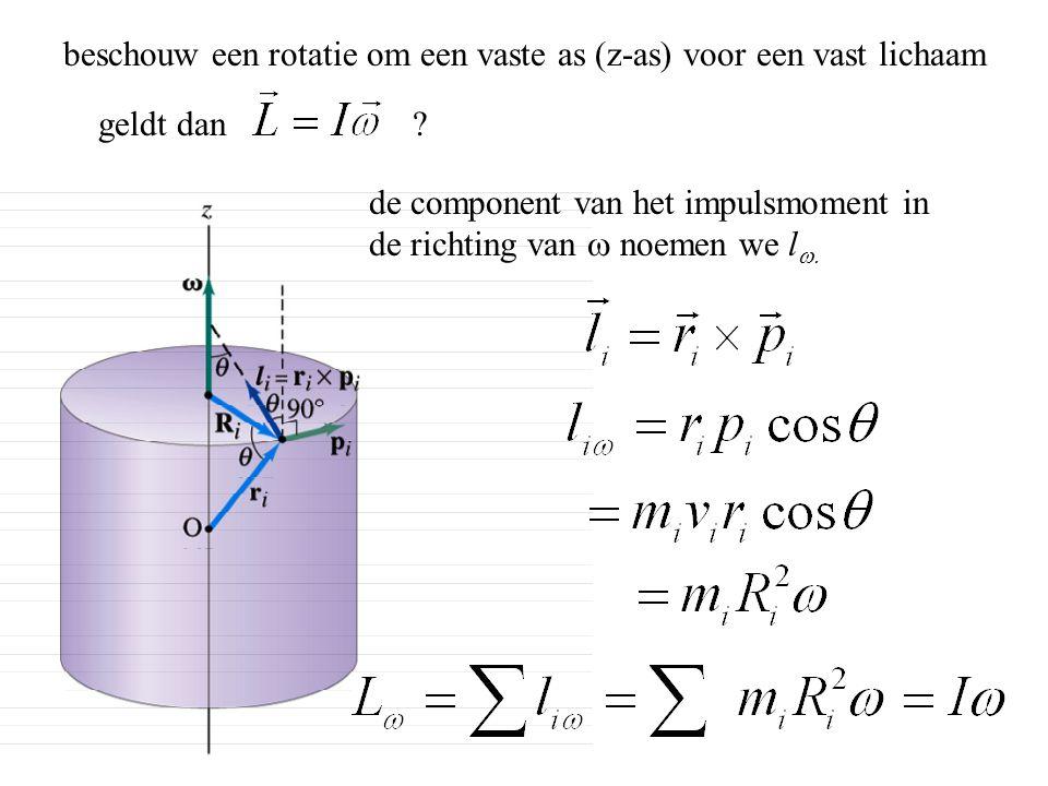 beschouw een rotatie om een vaste as (z-as) voor een vast lichaam de component van het impulsmoment in de richting van  noemen we l  geldt dan ?