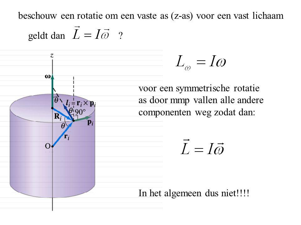 beschouw een rotatie om een vaste as (z-as) voor een vast lichaam geldt dan ? voor een symmetrische rotatie as door mmp vallen alle andere componenten