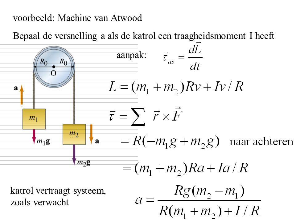 voorbeeld: Machine van Atwood Bepaal de versnelling a als de katrol een traagheidsmoment I heeft aanpak: katrol vertraagt systeem, zoals verwacht
