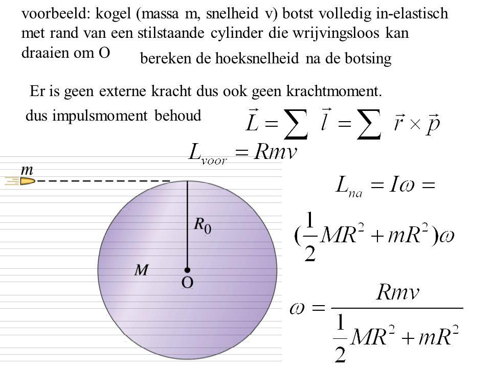 voorbeeld: kogel (massa m, snelheid v) botst volledig in-elastisch met rand van een stilstaande cylinder die wrijvingsloos kan draaien om O bereken de