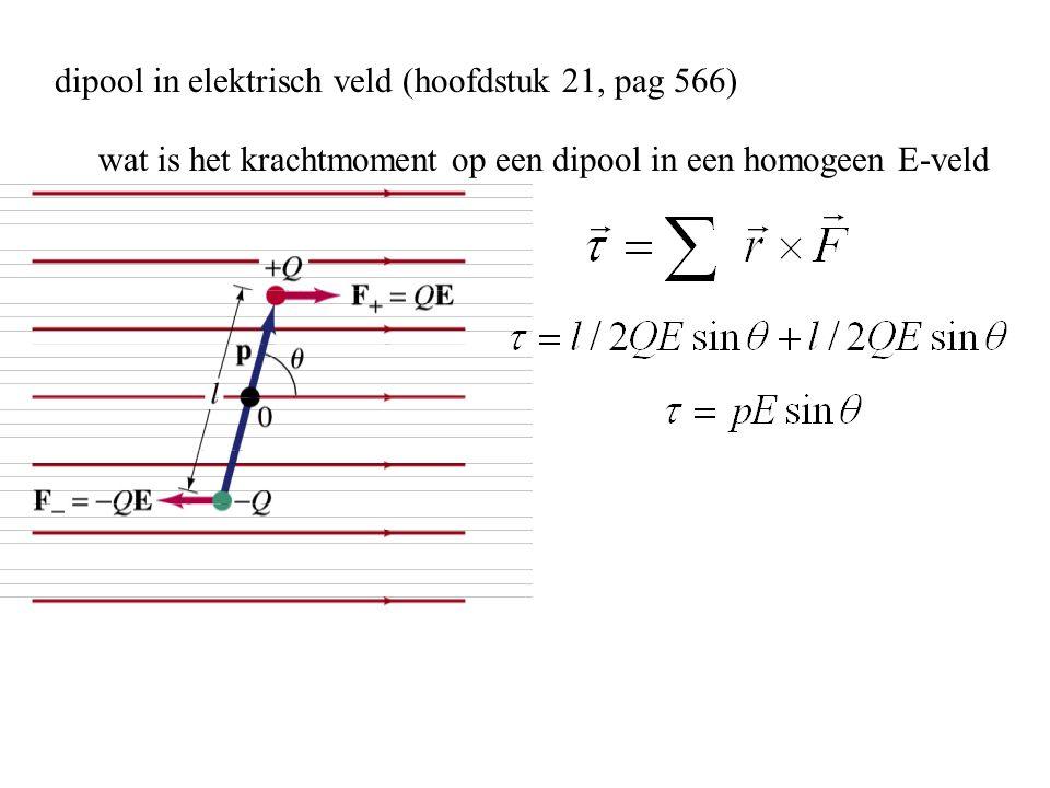 dipool in elektrisch veld (hoofdstuk 21, pag 566) wat is het krachtmoment op een dipool in een homogeen E-veld