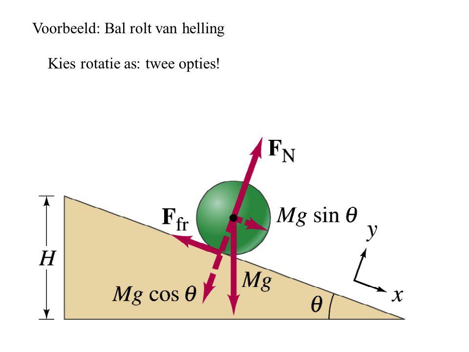 Voorbeeld: Bal rolt van helling Kies rotatie as: twee opties!