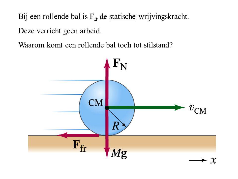 Bij een rollende bal is F fr de statische wrijvingskracht. Deze verricht geen arbeid. Waarom komt een rollende bal toch tot stilstand?