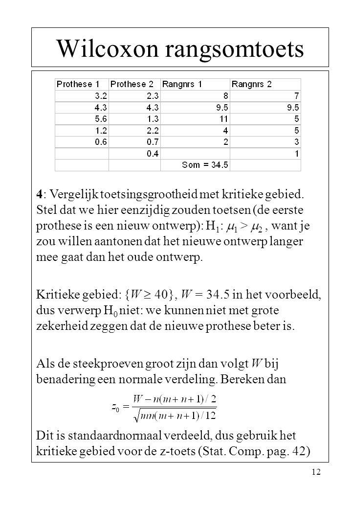 12 Wilcoxon rangsomtoets 4: Vergelijk toetsingsgrootheid met kritieke gebied. Stel dat we hier eenzijdig zouden toetsen (de eerste prothese is een nie