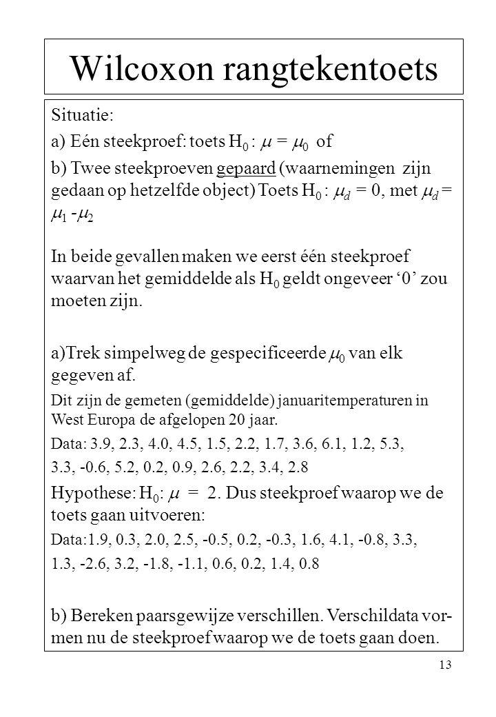 13 Wilcoxon rangtekentoets Situatie: a) Eén steekproef: toets H 0 :  =  0 of b) Twee steekproeven gepaard (waarnemingen zijn gedaan op hetzelfde obj