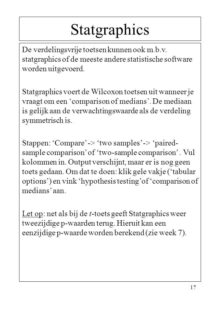 17 Statgraphics De verdelingsvrije toetsen kunnen ook m.b.v. statgraphics of de meeste andere statistische software worden uitgevoerd. Statgraphics vo