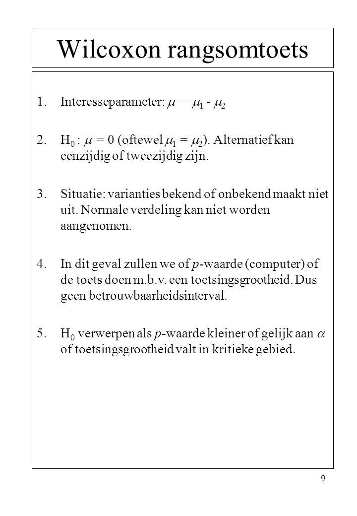 9 Wilcoxon rangsomtoets 1.Interesseparameter:  =  1 -  2 2.H 0 :  = 0 (oftewel  1 =  2 ). Alternatief kan eenzijdig of tweezijdig zijn. 3.Situat