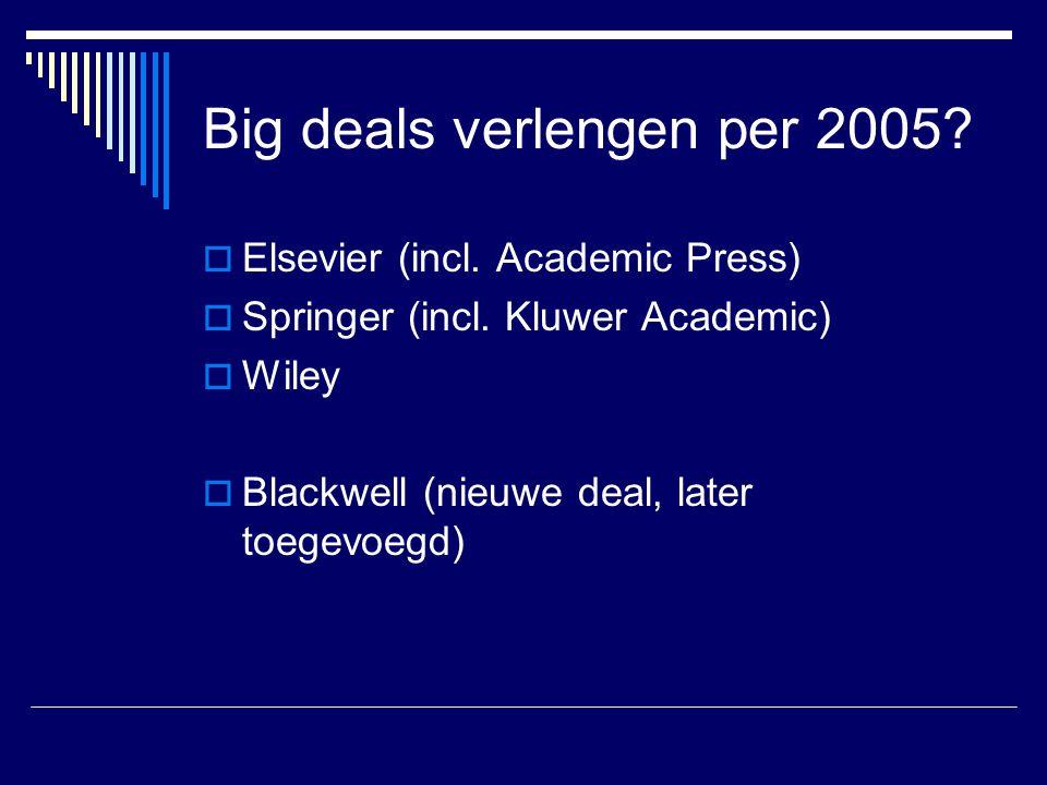 Big deals verlengen per 2005?  Elsevier (incl. Academic Press)  Springer (incl. Kluwer Academic)  Wiley  Blackwell (nieuwe deal, later toegevoegd)