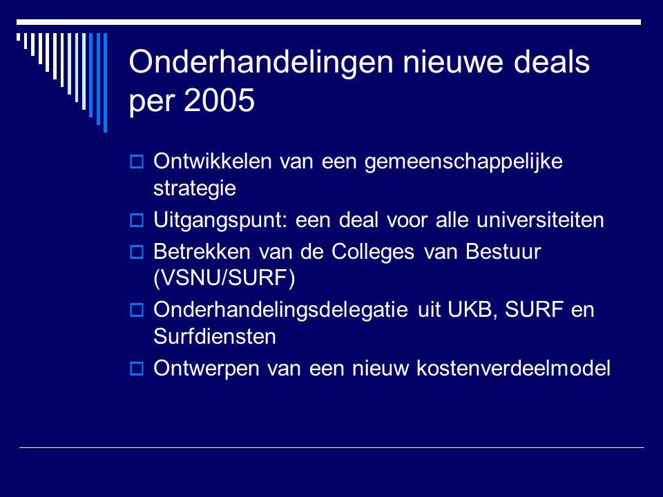 Onderhandelingen nieuwe deals per 2005  Ontwikkelen van een gemeenschappelijke strategie  Uitgangspunt: een deal voor alle universiteiten  Betrekken van de Colleges van Bestuur (VSNU/SURF)  Onderhandelingsdelegatie uit UKB, SURF en Surfdiensten  Ontwerpen van een nieuw kostenverdeelmodel